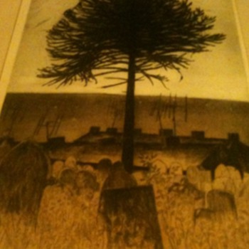 Unusual print of a tree in a graveyard by George Chapman