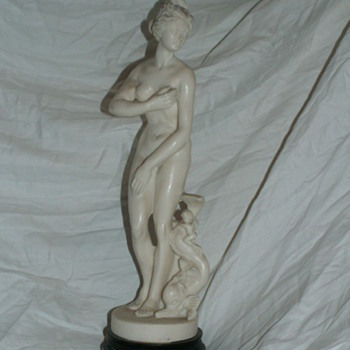 Vintage Nude Statuette w/ Dolphin & Gremlins  =^' - Figurines