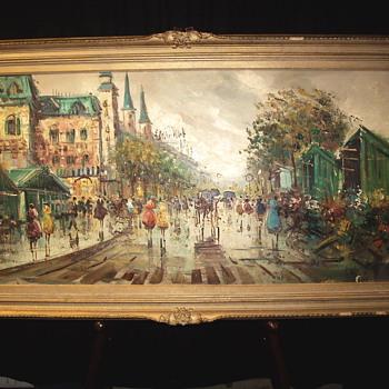 """Antonio DeViti Impressionist """"Street Scene Paris""""1940-50"""