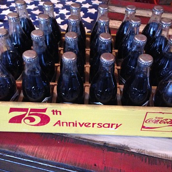 Coca Cola 75th Anniversary Crate and Bottles