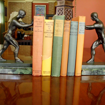 Art Deco Male Implied Nude Bookends  - Books
