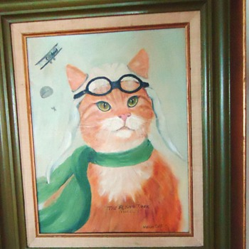 "1977 Oil Painting, Vintage Morris Worlds ""Most Finicky Cat"" - Animals"