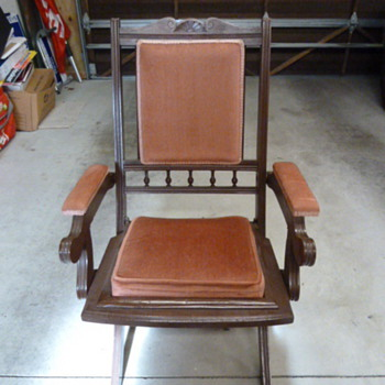 early beech folding deck chair