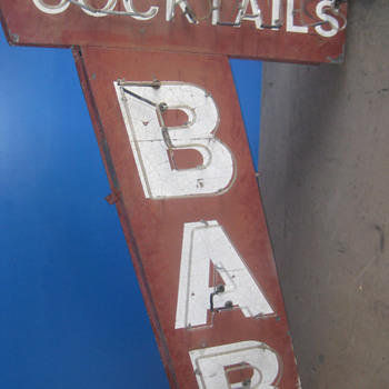 Vintage 1950's Neon COCKTAILS - BAR sign 2-sided / Gorgeous Antique