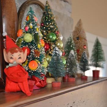 Vintage elf and bottle brush trees - Christmas