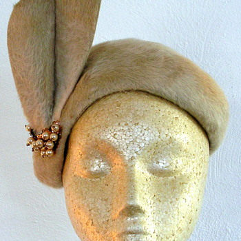 Taupe Fur Hat with Faux Pearl Embellish
