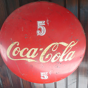 "coca cola 5 cent round metal 24"" sign - Coca-Cola"