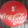 "coca cola 5 cent round metal 24"" sign"