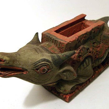 Old wooden painted Water Buffalo - Animals