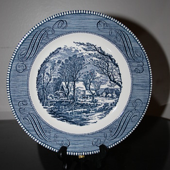 "Dinnerware by Currier & Ives  ""The Old Grist Mill"" USA made"