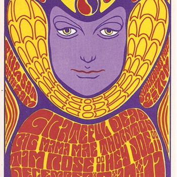 Wes Wilson postcard, 1966 - Music