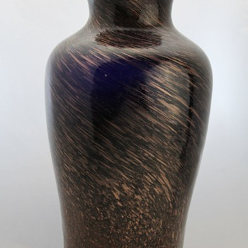 Cobalt and aventurine vase by Kamei