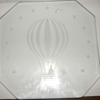 1793 first US hot air balloon flight commemorative dish - Glassware