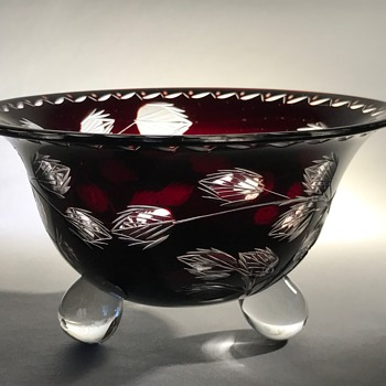 Loetz Cut Glass Tri-footed Bowl C1920