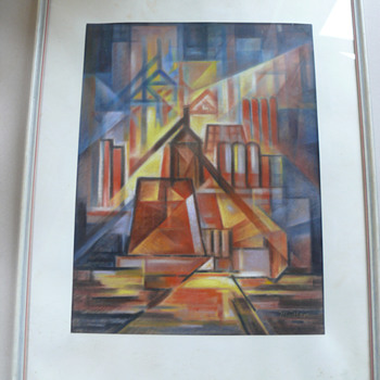 futurism inspired oil crayon or pastell drawing - Visual Art