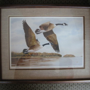 Geese Print by Floyd. G. Thomas, Gooseneck Rocking Chair