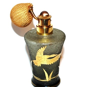 DeVilbiss Perfume Atomizer – Cat #S1250-7-bottle made by Fuger-Taube Glass of West Germany-1953