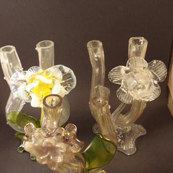 Kralik Floral Tube Vases - Art Glass