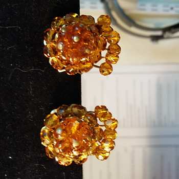Gold filled amber colored vintage earrings