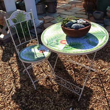 Tiled Garden Table and Chair - Furniture