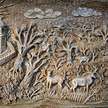 Idyll handmade wood carved panel