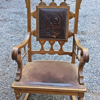 Ornate Engraved, embossed  Leather Back Oak rocker - Furniture