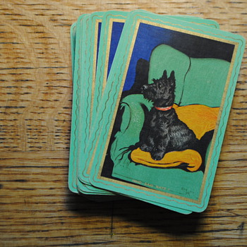 antique doggie playing cards two decks RARE GOODALL Thomas De La Rue and Co LTD London