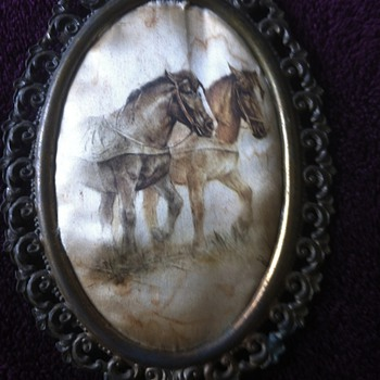 Antique horse art in Victorian frame made in Italy