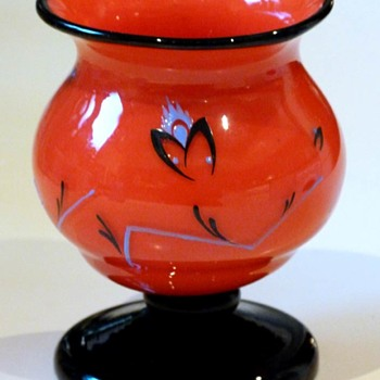 Red Lötz tango vase with enamel decor
