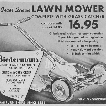 1950 Grass Queen Lawnmower Advertisement - Advertising