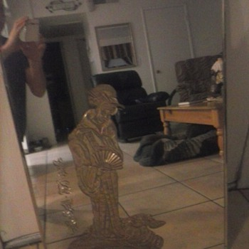 mirror with asian women on it gold leafed  - Asian