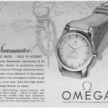 "1955 - Omega ""Seamaster"" Watch Advertisement - Advertising"