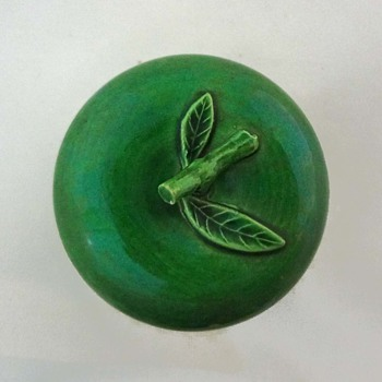Green glazed apple-shaped pottery lidded box - Kitchen