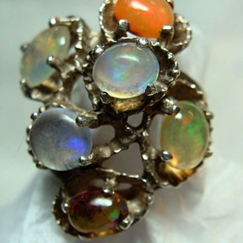 Modernist Multi-Opal Ring