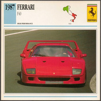 Vintage Car Card - Ferrari F40