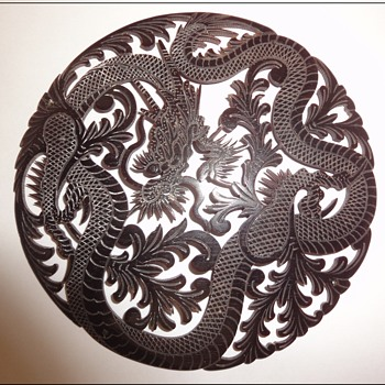 Chinese (?) Hand Carved Ox Bone/Horn Disk