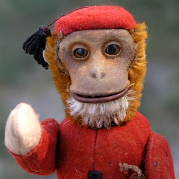 "1920's Schuco Bellhop ""Yes/No"" Mechanical Monkey - Dolls"