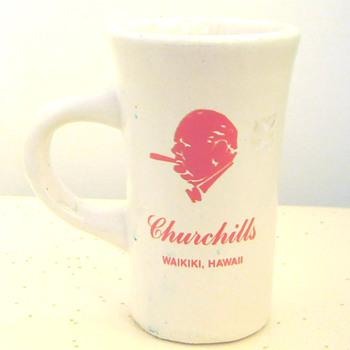Sir Winston Churchill smokes cigar wearing bow tie on holiday in Waikiki Hawaii?!