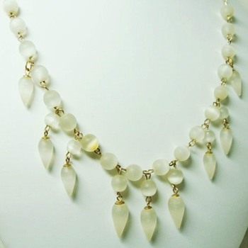 Antique Feldspar Moonstone Drop Necklace