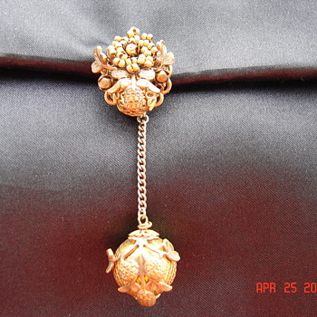 Very Strange Very Ornate Dangling Pin Brooch - Victorian Era