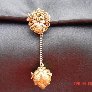 Very Strange Very Ornate Dangling Pin Brooch