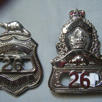 MATCHING NUMBERS BEAVER TOPPED CANADIAN SCMR SURETE BADGE SET