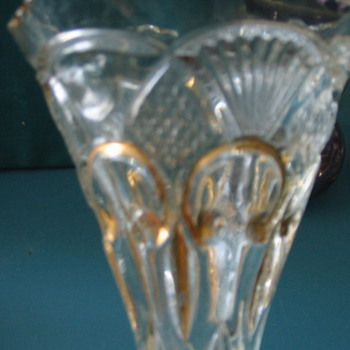 ID Needed.. Glass wine, vase gold fleur de lis, sawtooth, pineapple fan heavy - Glassware