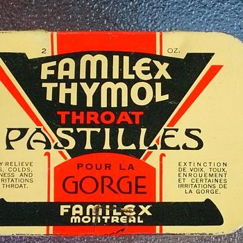 VINTAGE Throat Lozenges TIN FAMILEX THYMOL Throat Pastilles CANADA.
