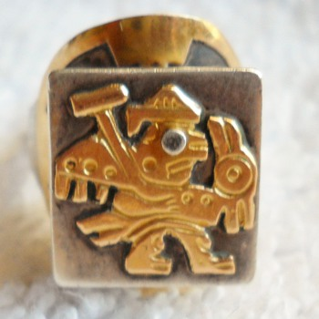 OLD CUZCO SILVER &amp; GOLD RING