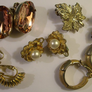 More Costume Jewelry Earrings 1950's & 60's - Costume Jewelry