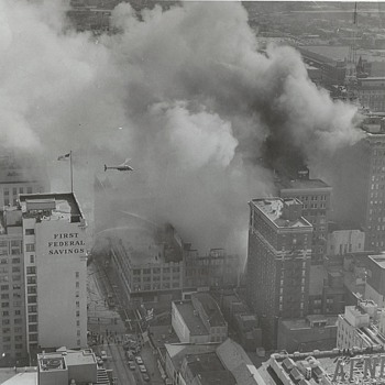 Black & White Aerial Photograph of Downtown Indianapolis Fire 1960's  - Photographs