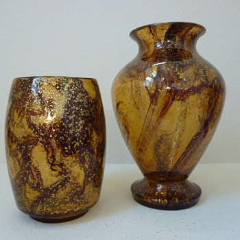 Kralik Brown ribbon and metal pair of vases - Art Glass