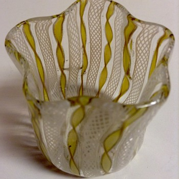 Murano Latticino Zanfirico Vase - Art Glass