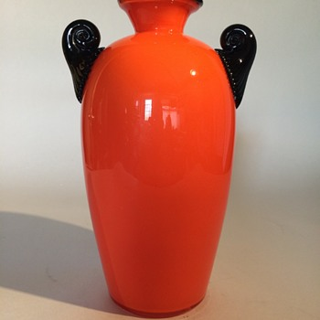 Bohemian Czech Tango Vase with Scalloped Handles